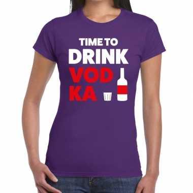 Time to drink vodka tekst paars dames t-shirt kopen