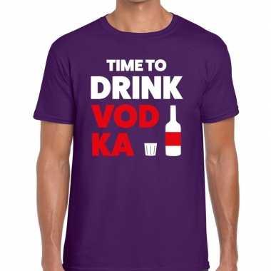 Time to drink vodka tekst paars heren t-shirt kopen