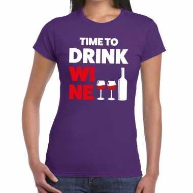Time to drink wine tekst paars dames t-shirt kopen