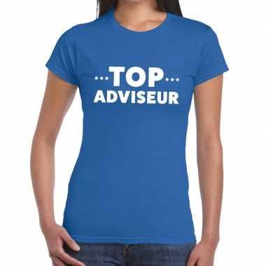 Top adviseur beurs/evenementen blauw dames t-shirt kopen