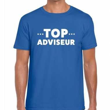 Top adviseur beurs/evenementen blauw heren t-shirt kopen