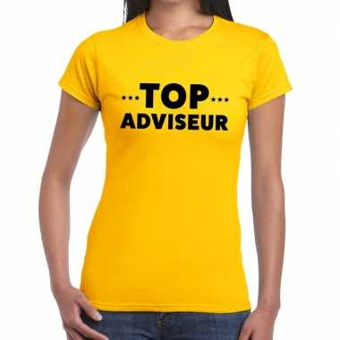 Top adviseur beurs/evenementen geel dames t-shirt kopen