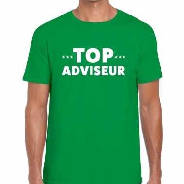 Top adviseur beurs/evenementen groen heren t-shirt kopen