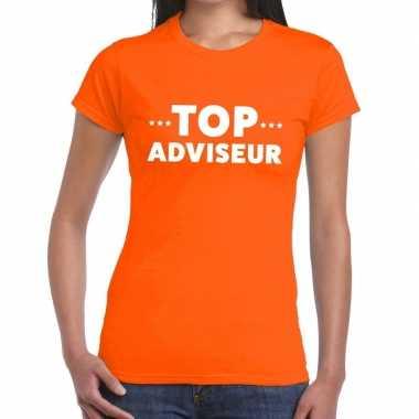 Top adviseur beurs/evenementen oranje dames t-shirt kopen