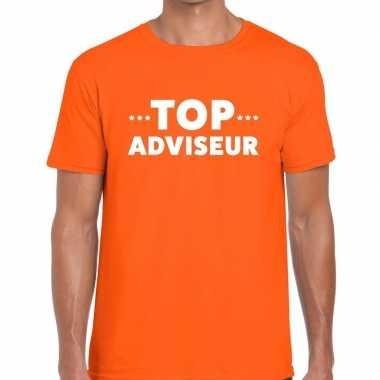 Top adviseur beurs/evenementen oranje heren t-shirt kopen