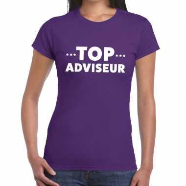 Top adviseur beurs/evenementen paars dames t-shirt kopen