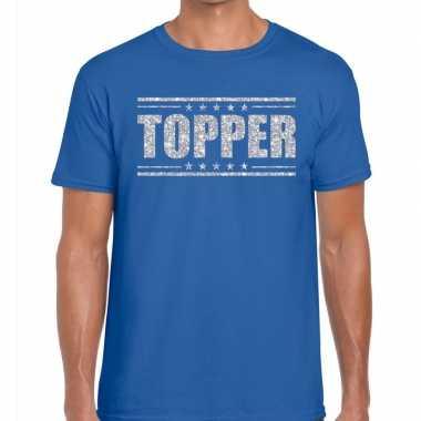 Topper blauw zilveren glitters heren t-shirt kopen