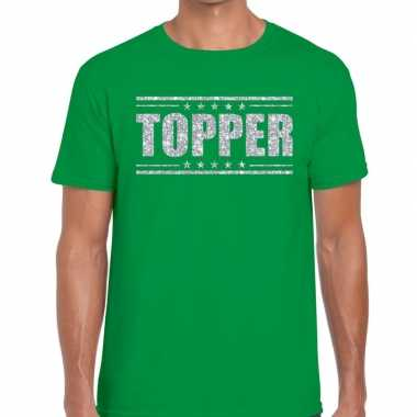 Topper groen zilveren glitters heren t-shirt kopen