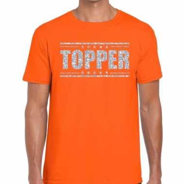 Topper oranje zilveren glitters heren t-shirt kopen
