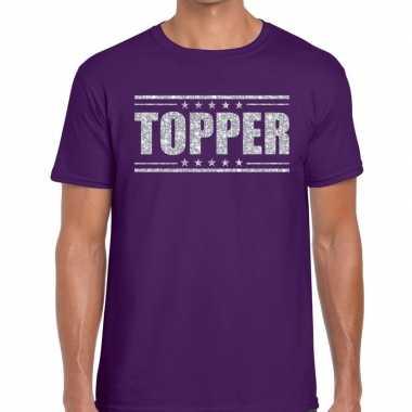 Topper paars zilveren glitters heren t-shirt kopen