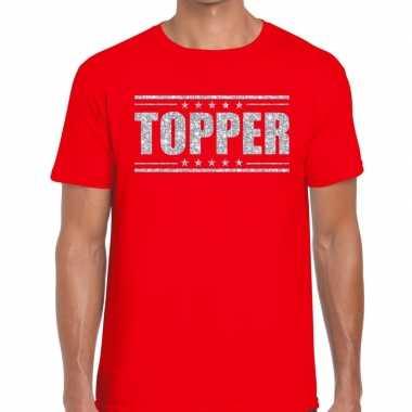 Topper rood zilveren glitters heren t-shirt kopen