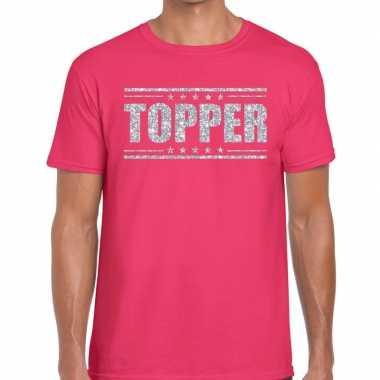 Topper roze zilveren glitters heren t-shirt kopen