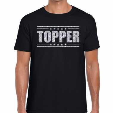Topper zwart zilveren glitters heren t-shirt kopen