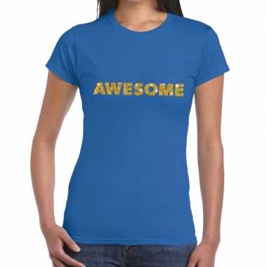 Toppers awesome goud glitter tekst blauw dames t-shirt kopen