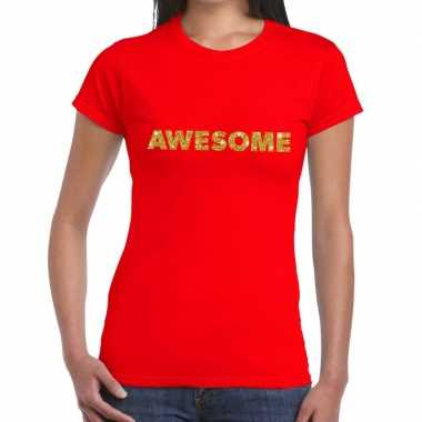Toppers awesome goud glitter tekst rood dames t-shirt kopen