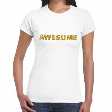 Toppers awesome goud glitter tekst wit dames t-shirt kopen