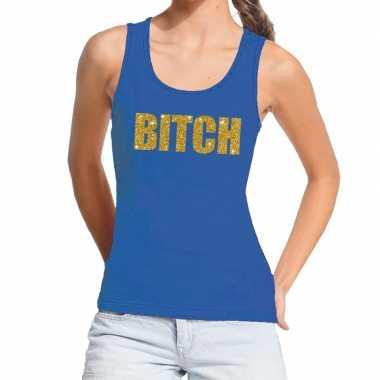 Toppers bitch glitter tanktop / mouwloos blauw dames t-shirt kopen