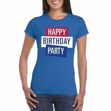 Toppers blauw toppers happy birthday party dames officieel t-shirt ko