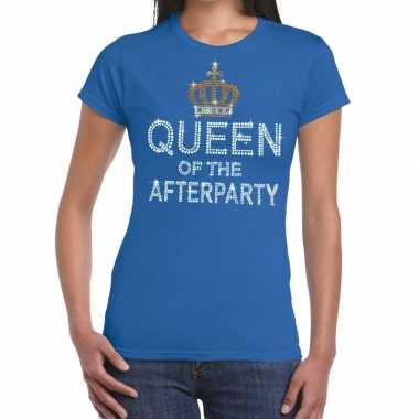 Toppers blauw toppers queen of the afterparty glitter dames t-shirt k