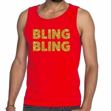 Toppers bling bling glitter tanktop / mouwloos rood heren t-shirt kop