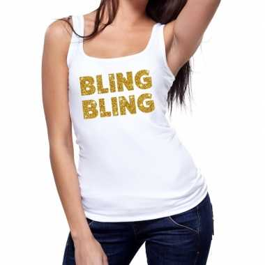 Toppers bling bling glitter tanktop / mouwloos wit dames t-shirt kope