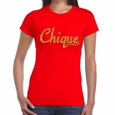 Toppers chique goud glitter tekst rood dames t-shirt kopen