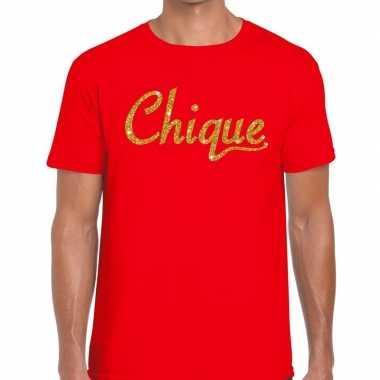 Toppers chique goud glitter tekst rood heren t-shirt kopen