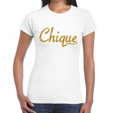 Toppers chique goud glitter tekst wit dames t-shirt kopen