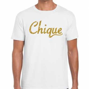 Toppers chique goud glitter tekst wit heren t-shirt kopen