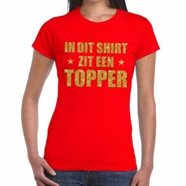 Toppers di zit een topper glitter tekst rood dames t-shirt kopen