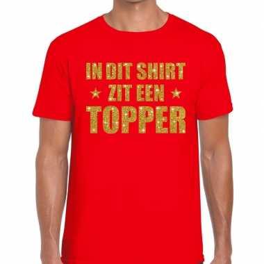 Toppers di zit een topper glitter tekst rood heren t-shirt kopen