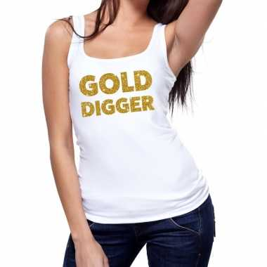 Toppers gold digger glitter tanktop / mouwloos wit dames t-shirt kope