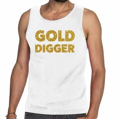 Toppers gold digger glitter tanktop / mouwloos wit heren t-shirt kope