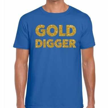Toppers gold digger glitter tekst blauw heren t-shirt kopen