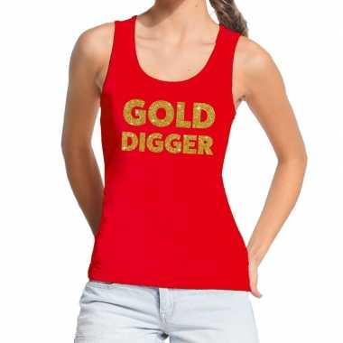 Toppers gold digger glitter tekst tanktop / mouwloos rood dames t-shi