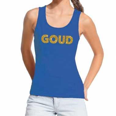 Toppers goud gouden glitter tanktop / mouwloos blauw dames t-shirt ko