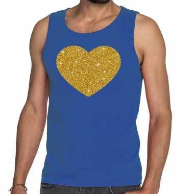 Toppers gouden hart glitter tanktop / mouwloos blauw heren t-shirt ko