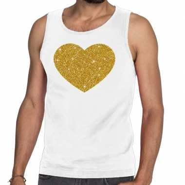 Toppers gouden hart glitter tanktop / mouwloos wit heren t-shirt kope