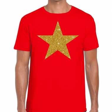 Toppers gouden ster glitter fun rood heren t-shirt kopen