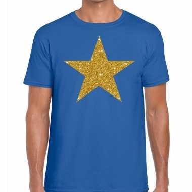 Toppers gouden ster glitter fun t blauw heren t-shirt kopen