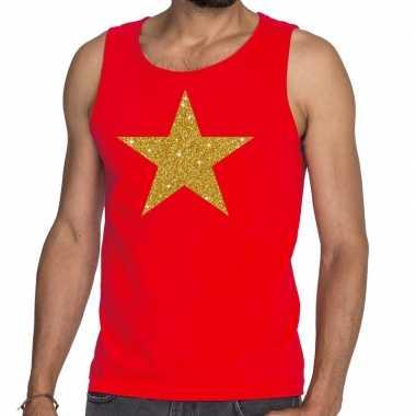 Toppers gouden ster glitter tanktop / mouwloos rood heren t-shirt kop