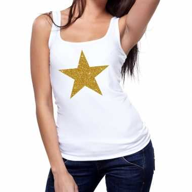 Toppers gouden ster glitter tanktop / mouwloos wit dames t-shirt kope