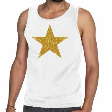 Toppers gouden ster glitter tanktop / mouwloos wit heren t-shirt kope