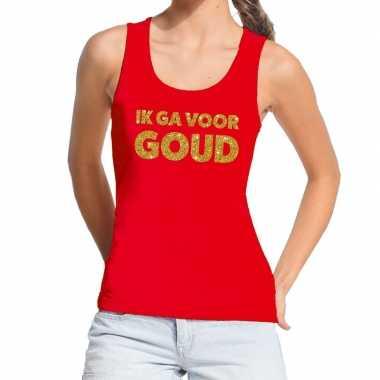 Toppers ik ga goud glitter tanktop / mouwloos rood dames t-shirt kope