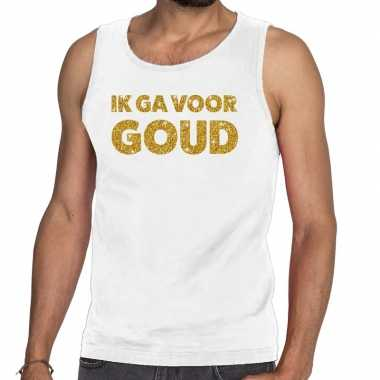 Toppers ik ga goud glitter tanktop / mouwloos wit heren t-shirt kopen