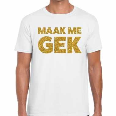Toppers maak me gek glitter tekst wit heren t-shirt kopen
