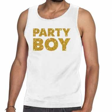 Toppers party boy glitter tanktop / mouwloos wit heren t-shirt kopen