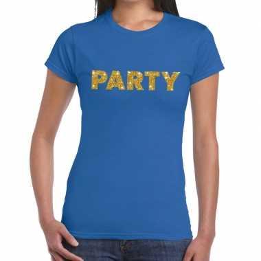 Toppers party goud glitter tekst blauw dames t-shirt kopen