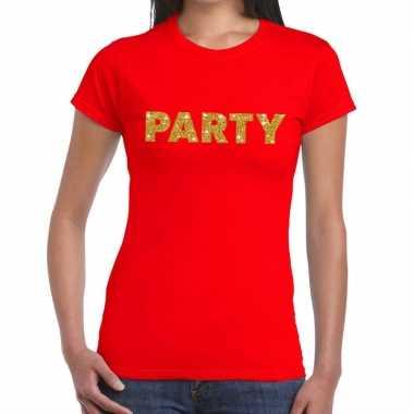 Toppers party goud glitter tekst rood dames t-shirt kopen