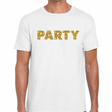 Toppers party goud glitter tekst wit heren t-shirt kopen